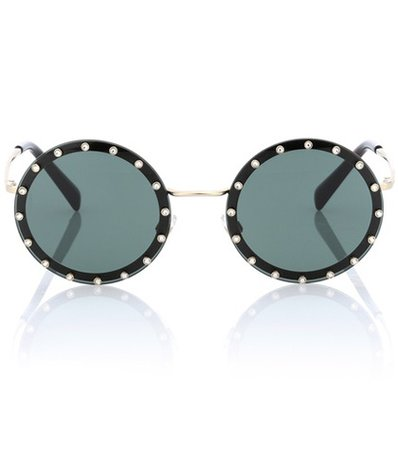 Crystal-embellished round sunglasses