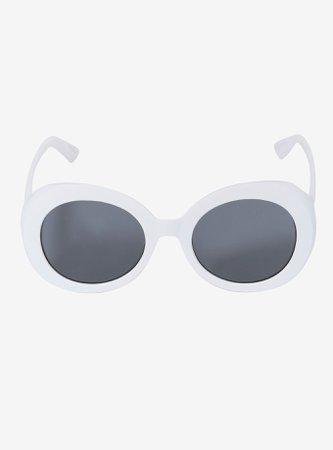White Round Plastic Sunglasses
