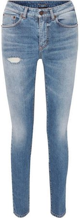 Distressed Low-rise Skinny Jeans - Blue