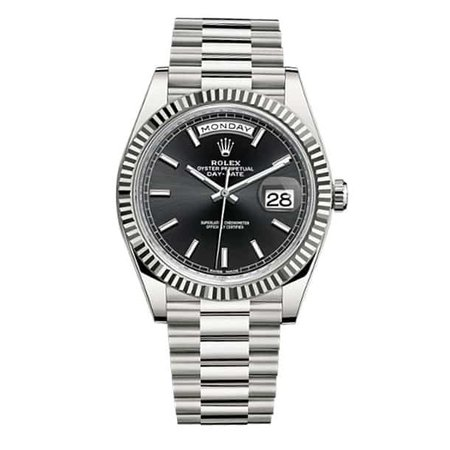Rolex Day Date II Automatic Black Dial 18kt White Gold  Watch