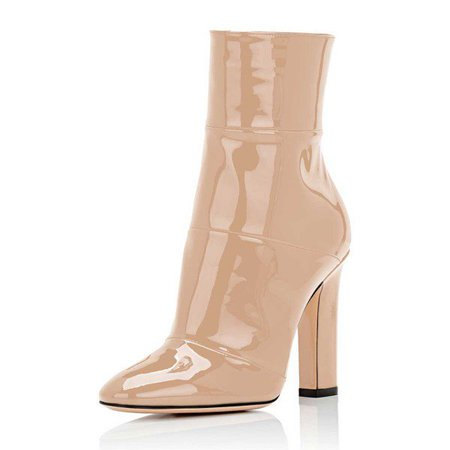 Women's Nude Chunky Heel Boots Pointy Toe Patent Leather Ankle Boots for Big day, Going out   FSJ