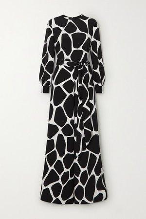 Belted Printed Silk-crepe Jumpsuit - Black