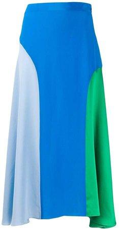 Colour-Blocked Silk Dress