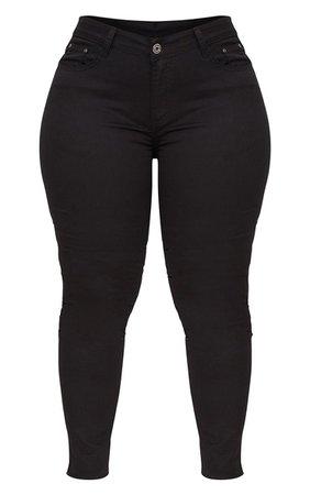 Plus Black Skinny Jeans   PrettyLittleThing USA