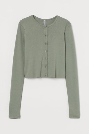 Button-front Cardigan - Green