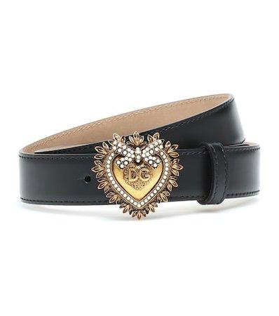 Devotion embellished leather belt