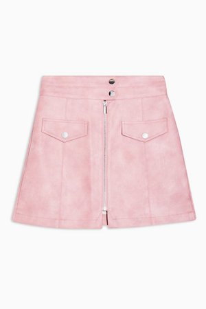 Pink Zip Through PU Mini Skirt | Topshop