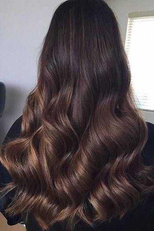 Wavey dark brown hair with caramel highlights