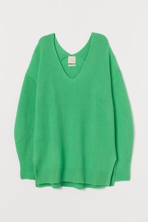Pullover a V in misto lana - Verde neon - DONNA | H&M IT