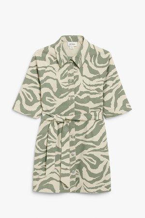 Mini denim shirt dress - Zebra print - Mini dresses - Monki WW