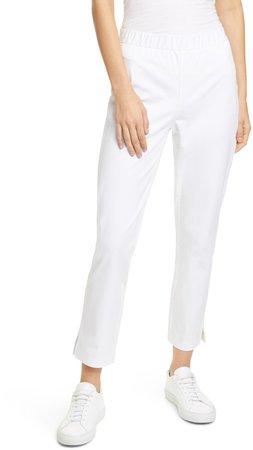Organic Stretch Cotton Slit Hem Ankle Pants