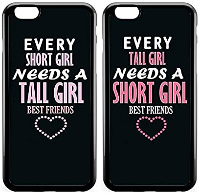 Amazon.com: iPhone X,iPhone Xs Case BFF Case,Cute Funny Best Friends Forever BFF Sister Cousins Couple Every Tall Girl Needs A Short Girl Sisters BFF Matching Pink Funny Love Forever Soft Black Case for iPhone X