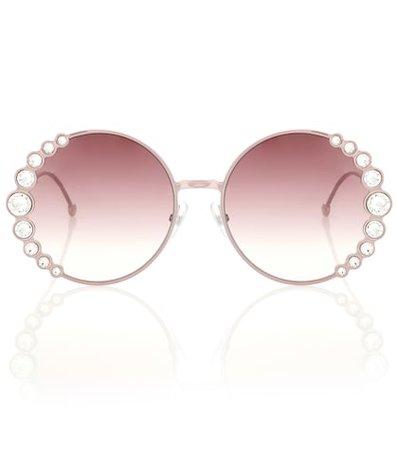 Embellished round sunglasses