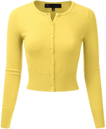 EIMIN Women's Crewneck Button Down Long Sleeve Cropped Cardigan Sweater BABYYELLOW S at Amazon Women's Clothing store