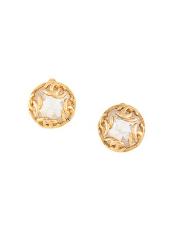 Shop gold Chanel Pre-Owned 1995 rhinestone earrings with Express Delivery - Farfetch