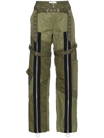 Marques'Almeida oversized zipped wide-leg trousers - Green