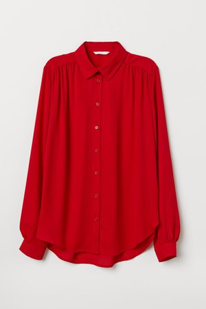 Long-sleeved Blouse - Bright red - Ladies | H&M US