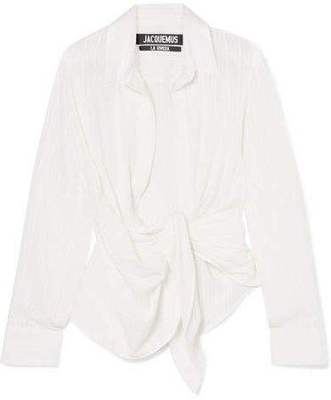 Bahia Gathered Cotton-blend Jacquard Top - Off-white
