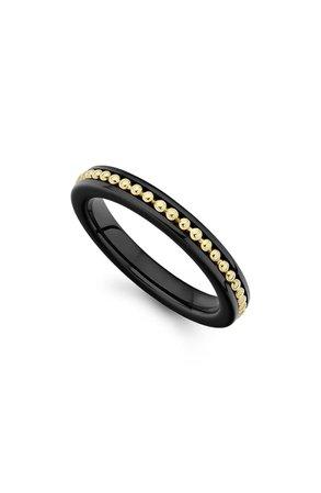 LAGOS Gold & Black Caviar Band Ring   Nordstrom