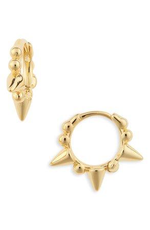 Adina's Jewels Beaded Spike Huggie Hoop Earrings | Nordstrom
