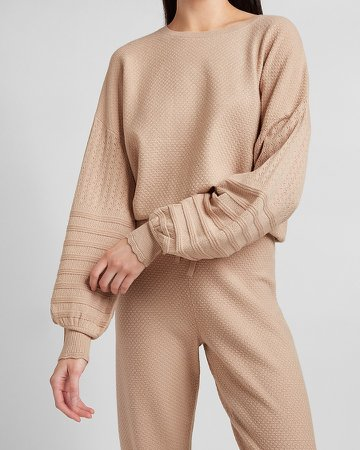 Pointelle Sleeve Crew Neck Sweater