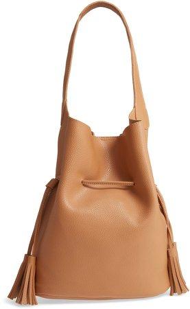 Drawstring Faux Leather Bucket Bag