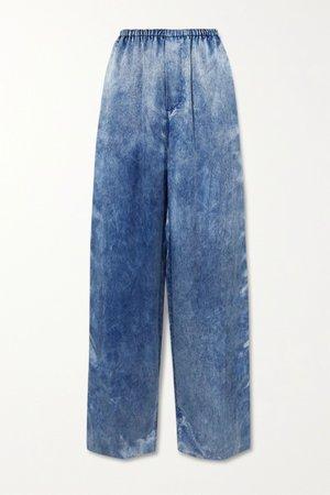 Blue Printed satin wide-leg pants | Balenciaga | NET-A-PORTER