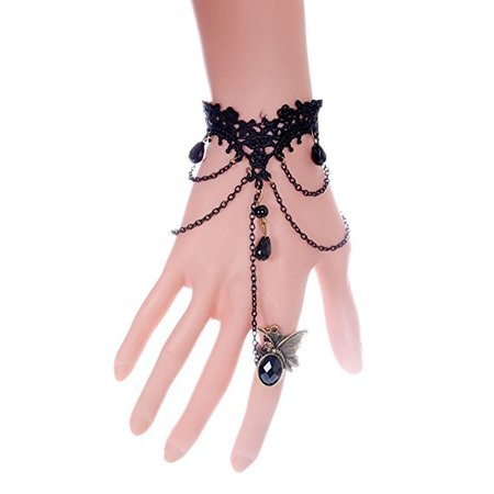Amazon.com: QTMY Black Gothic style Lace Ring Chain Bracelet Party Jewelry Set for Women: Home & Kitchen