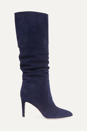 Navy 85 suede knee boots   Gianvito Rossi   NET-A-PORTER