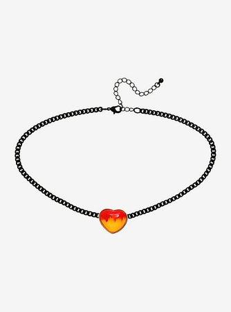 Flame Heart Black Chain Choker