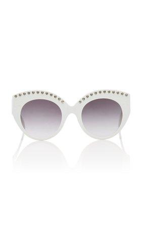 Alaia Sunglasses Le Vienne Cat-Eye Studded Acetate Sunglasses