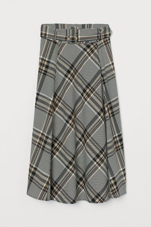 Circle Skirt - Light beige/checked - Ladies | H&M US