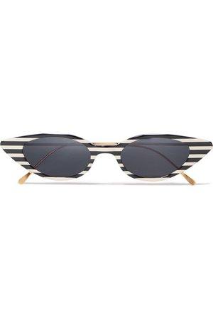 Illesteva | Marianne cat-eye striped acetate and gold-tone sunglasses | NET-A-PORTER.COM