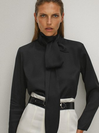 Black blouse with tied neckline - Women - Massimo Dutti