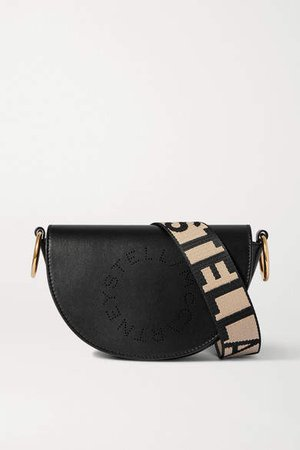 Small Perforated Faux Leather Shoulder Bag - Black
