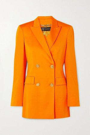 Orange Double-breasted cady blazer   Versace