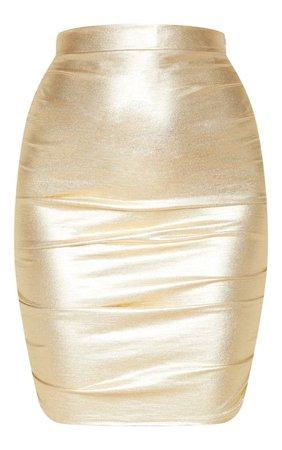 Gold Metallic Ruched Detail Mini Skirt | PrettyLittleThing USA