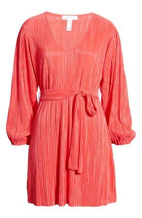 Leith Tie Waist Long Sleeve Minidress red