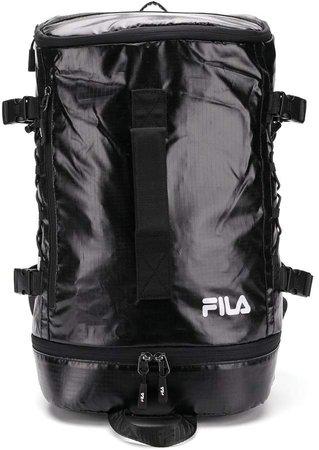 checked logo-print backpack