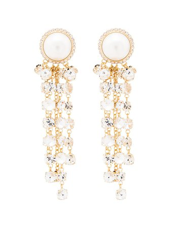 Shop metallic Alessandra Rich Cascade clip-on earrings with Express Delivery - Farfetch