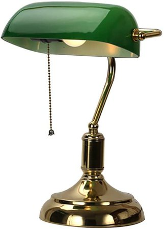 Desk Light Retro Table Lamp,Bank Table Lamp Traditional Old-Fashioned Eye-Protection Green Reading Table Lights Nostalgic for Study Desk Work Bedroom Desk Lamp Green Glass Shade Bedside 38.5x23cm: Amazon.co.uk: Lighting