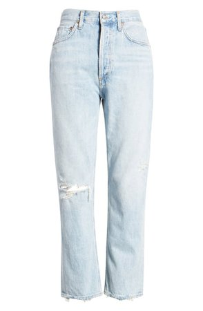 AGOLDE Riley Ripped High Waist Crop Straight Leg Jeans | Nordstrom