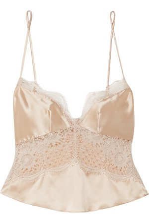 Kiki de Montparnasse   Grand Soleil silk-satin and lace camisole   NET-A-PORTER.COM