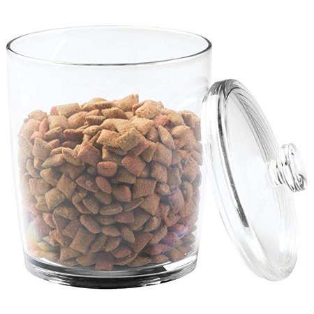Amazon.com : mDesign Tall Plastic Pet Storage Canister Jar with Lid - Holds Cat/Kitten Food, Treats, Toys, Medical, Dental and Grooming Supplies - Medium - 3 Pack - Clear : Pet Supplies