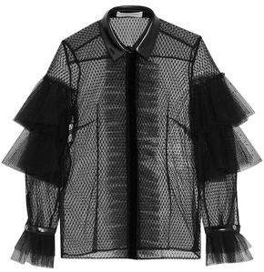 Faux Leather-trimmed Ruffled Point D'esprit Shirt