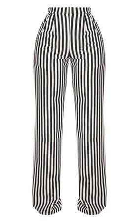 Shape Black Striped Wide Leg Trousers | Curve | PrettyLittleThing