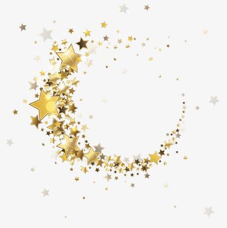 Stars gold round frame