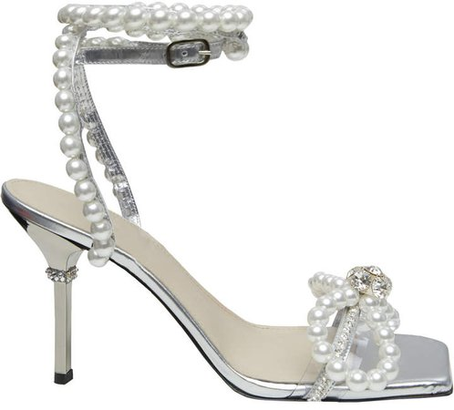 Mach & Mach Pearl Embellished Sandals
