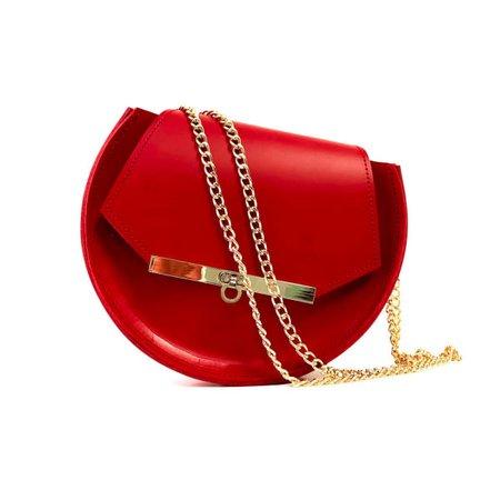 Loel Mini Military Bee Chain Bag Clutch In Rich Red | Angela Valentine Handbags | Wolf & Badger