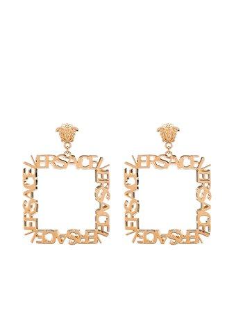 Versace logo-sculpted Square Hoop Earrings - Farfetch